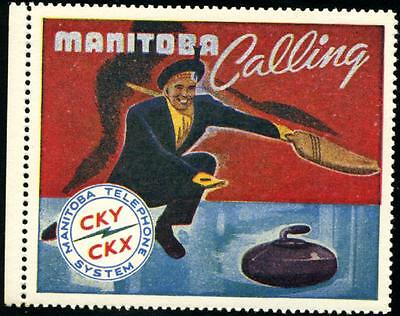 MANITOBA Calling ~CURLING~ Great Old Advertising Poster Stamp