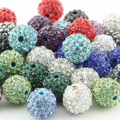 Wholesale Swarovski Crystal Alloy Disco Ball Spacer Beads Charms Findings 10MM