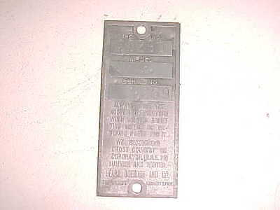 Old Briggs & Stratton Sears Gas Engine Serial Tag Model A