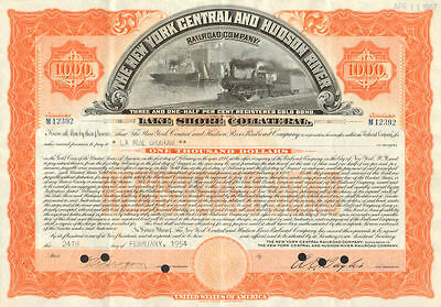 New York Central and Hudson River Railroad > $1,000 Lake Shore bond certificate