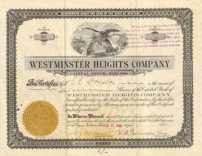 Westminster Heights Company 1904 New York telephone telegraph stock certificate