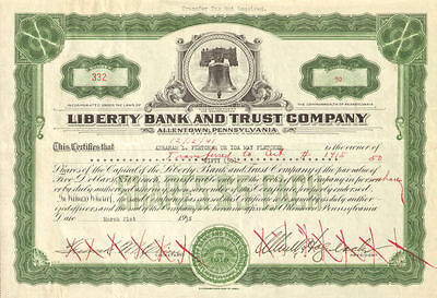 Liberty Bank and Trust Company   1938 Allentown Pennsylvania stock certificate