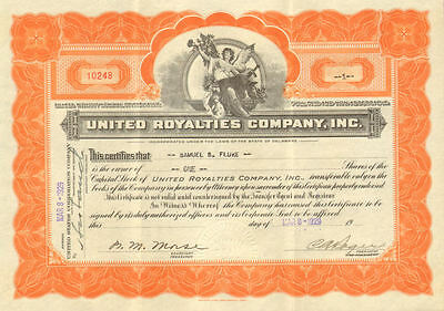 United Royalties Company   1929 oil stock certificate share