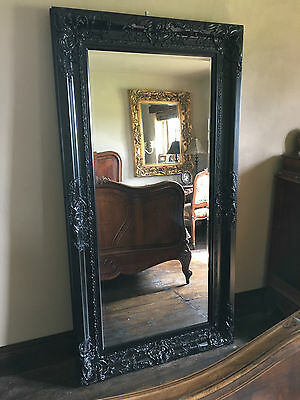 BLACK ORNATE BOUDOIR LARGE FRENCH BEVELLED WOOD WALL DRESS MIRROR 6FT x 4FT