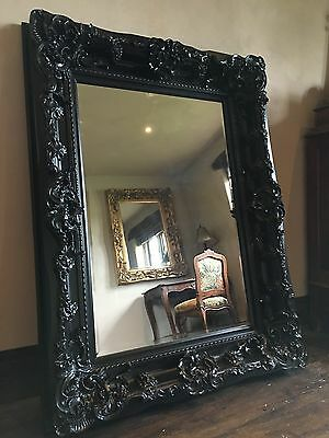 Black Ornate Large French Overmantle Statement Rococo Period Wall Mirror 4ft