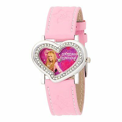 NEW! Hannah Montana Kids' HHM384 Silver Stoned Out Heart Case Pink Strap Watch
