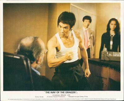 Way Of The Dragon Bruce Lee Original British Lobby Card In Vest Muscles