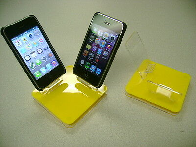 LOT 10 NEW STAND HOLDER CELL PHONE DISPLAY 2 in 1 YELLOW