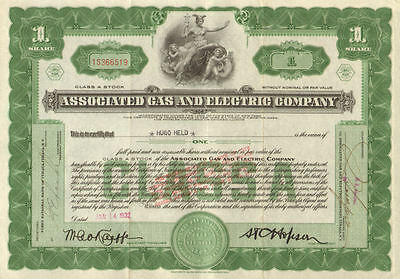 Associated Gas and Electric   New York power utility stock certificate 1 share