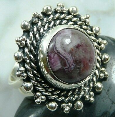 Beautiful Heavy-Weight Crazy Agate Silver Ring Size 8.25   AGR180