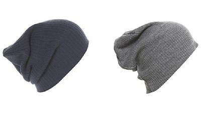 LONG OVER SIZED BEANIE SLOUCH HAT baggy knit comfort fit bob hat grey / black