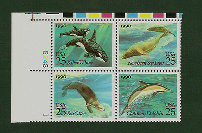 2508-11 Sea Creatures Plate Block Mint/nh (Free Shipping)