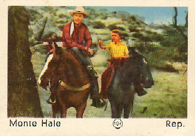 DUTCH MOVIE STAR GUM CARDS - No. 104 MONTE HALE