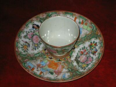 Antique Rose Medallion Porcelain Cup and Saucer