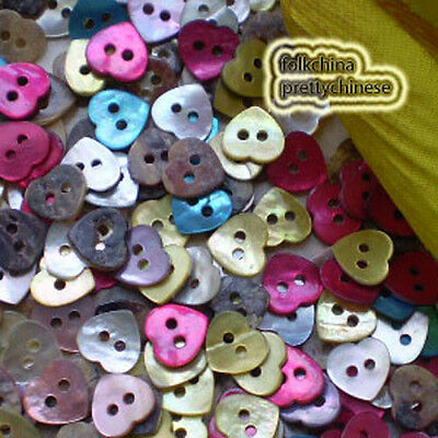 Mixed Heart 10mm Mother Of Shell Buttons Sewing Scrapbooking Beads Craft MOPH