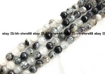 Black Rutilated Quartz round faceted Beads 15'' 8mm,10mm,12mm
