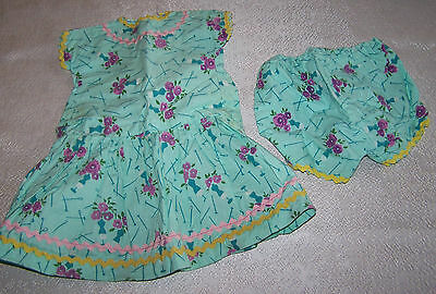 Vintage HOME MADE DOLL CLOTHES Hand Made Quality 1950's DRESS & UNDERPANTS PO