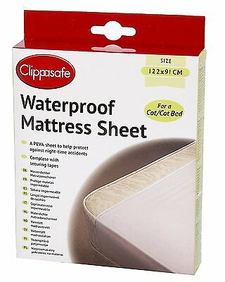 Clippasafe PEVA Waterproof Sheet Mattress Protector x Cot/Cot Bed Potty Training