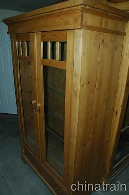 Antique Colonial Knotty Pine 2 Glass Door 1 Drawer Display Cabinet Wardrobe 1900