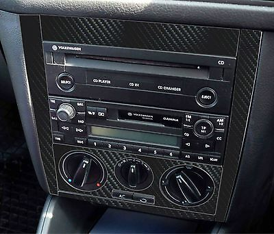 VW Golf Mk4 Rabbit Jetta 3D Black Carbon Fibre effect Radio Console. R32 TDI 04