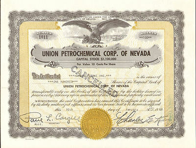 Union Petrochemical Corp. of Nevada   oil stock certificate share scripophily