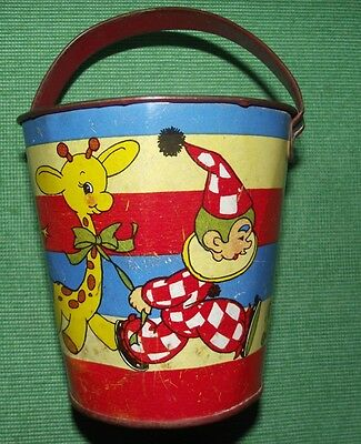 c1940  Tinplate Seaside Sand Pail Bucket by OHIO USA with Clown Litho