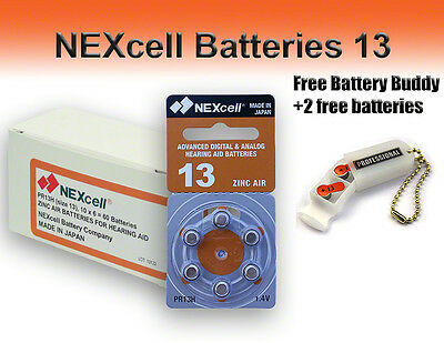 NEXcell Hearing Aid Batteries Size 13 + Free Battery Buddy