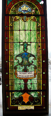 """THE MIGHTY ANGEL LIFTS HIS GOLDEN WAND"" Stained Glass Window #2"