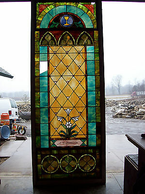 Stained glass window w/ flower and MIGHTY GOLDEN CHALICE #3