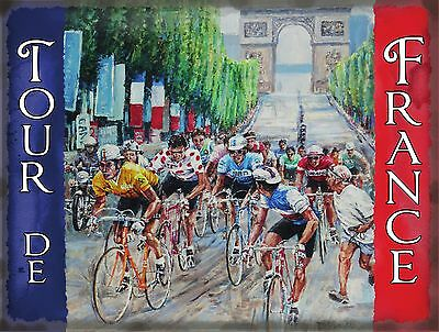 Cycling Tour de France, Cycle Racing Arch Classic Small Metal Tin Sign, Picture