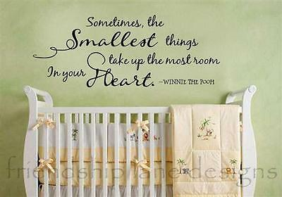 "Winnie the Pooh ""SMALLEST THINGS"" vinyl wall quote/decal/words BABY & NURSERY"