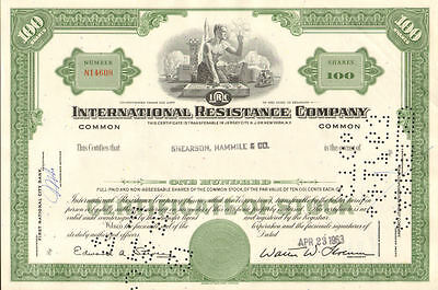 International Resistance Company IRC stock certificate