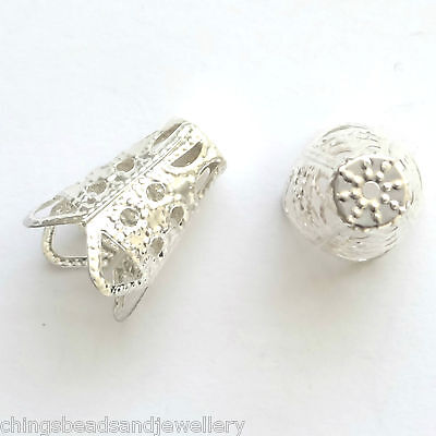 50 Silver plated 16x11mm Filigree Cone End Caps