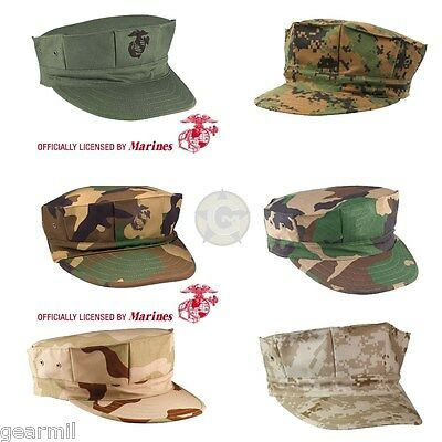 1e4914ed Marine Corps Fatigue Cap USMC 8 Point Cover Licensed Desert & Woodland Camo  NEW
