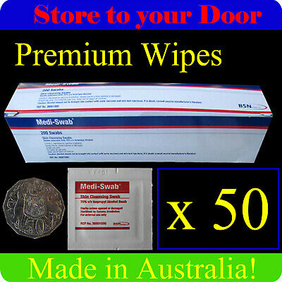 50 x Alcohol Wipes , Medical Wipes / Medi Swabs - Sterile Screen Cleaners