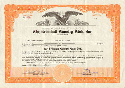 The Trumbull Country Club > 1975  Warren Ohio stock certificate share