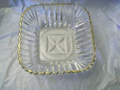 Vintage Crystal Cut Glass Candy Dish Bowl w Gold Edge
