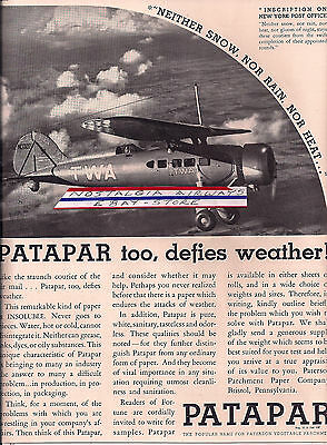 TWA CONSOLIDATED FLEETSTER 20A # NC13209 PATAPAR PAPER 1930 AD