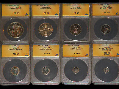 1911 Great Britain George V silver Proof Set ANACS
