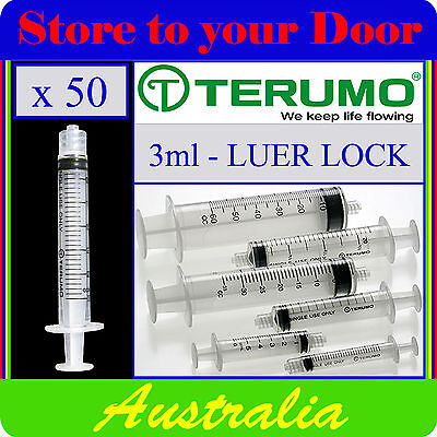 50 x 3ml Terumo Syringe Luer Lock - Hypodermic Needle / Medical / Diabetic