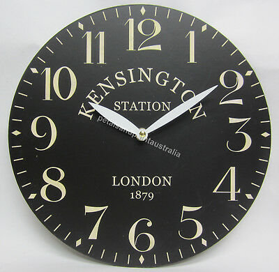 New 29cm Kensington Station London 1879 Black Wall Clock With Large Numbers