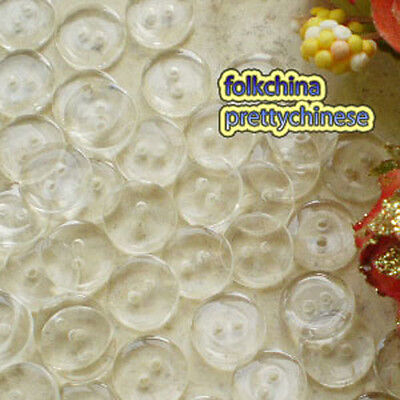 Clear Flat Round 15mm Plastic Buttons Sewing Scrapbooking Craft FHB02-15
