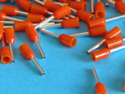 ORANGE 0.5mm FERRULE CRIMP (BOOTLACE CRIMPS)  QTY=100