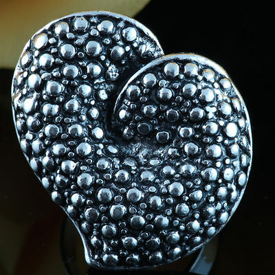 Chunky Large Heart Cocktail Silver Tone Adjustable Celebrity Style Fashion Ring!