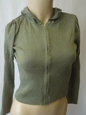 ☆♥ MARKS & SPENCER Green Hooded Fine Knit Zip Through Jacket Age 11-12 years ♥☆