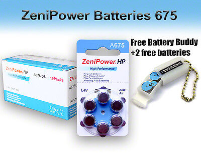 60 ZeniPower Hearing Aid Batteries Size 675 + Free Keychain/2 Extra Batteries