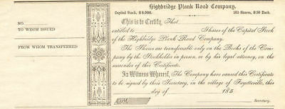 1850s Highbridge Plank Road Company   Fayetteville stock certificate share