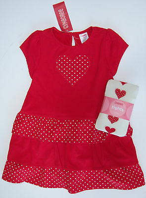 NWT Gymboree Valentine's Day 18-24 Red Polka Dot Heart Tiered Knit Dress Tights