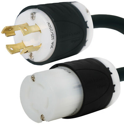 L14-30 Extension Cord 20 ft, 30A, 125/250V 10 AWG, 4-Prong, Outdoor Rated