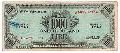 AM Lire 1000 Lire One Thousand Serie 1943 A  OCCUPAZIONE AMERICANA bb- #B109